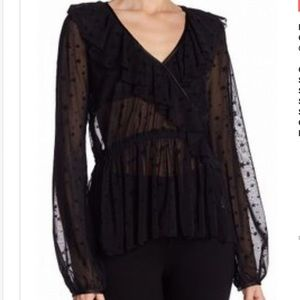 HARLOWE& GRAHAM Ruffle sheer blouse